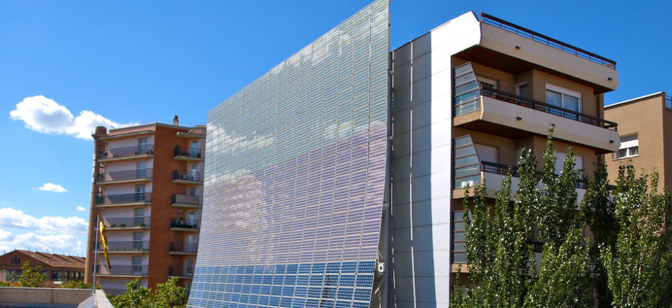 building facade covered with solar panels