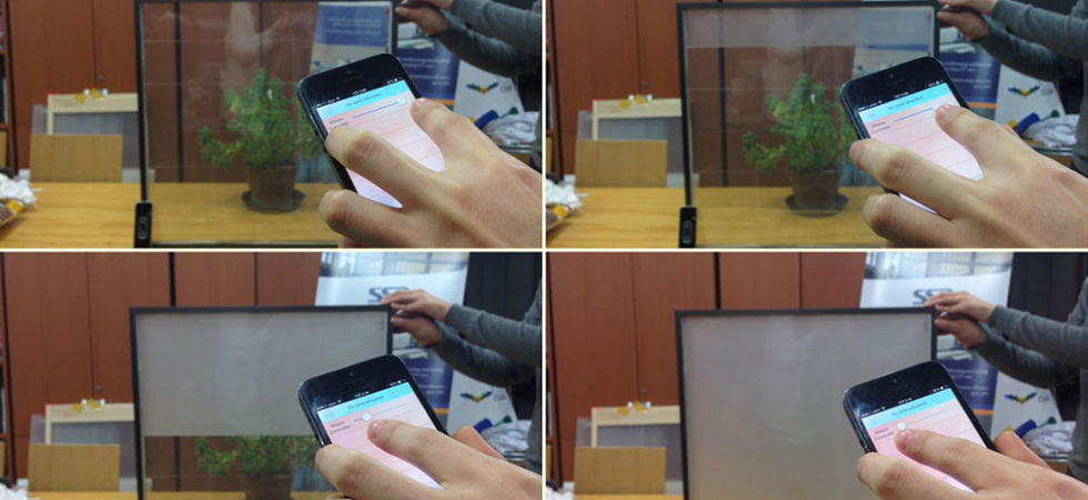 Smart window that can change from transparent to opaque with a smart phone app